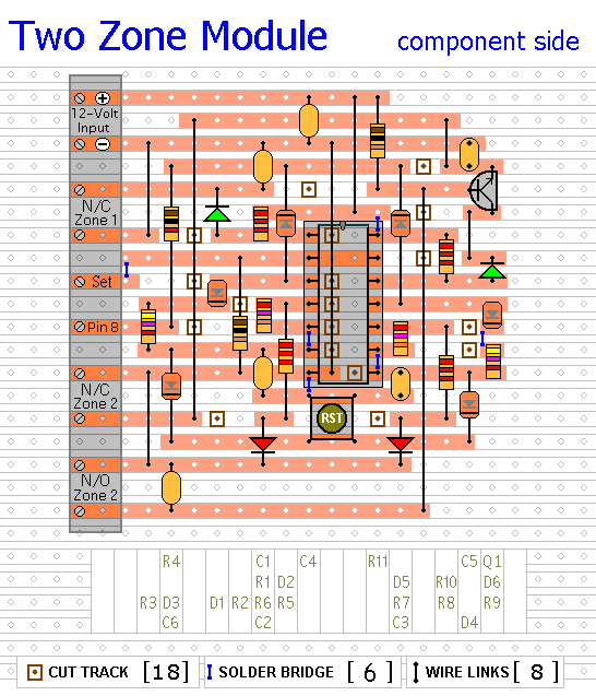 Veroboard Layout for The Two-zone Module