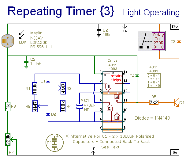 Circuit Diagram For  A Light Controlled Repeating Timer