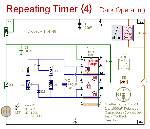 Schematic Diagram Of  An Interval-Timer That Only Operates After Dark