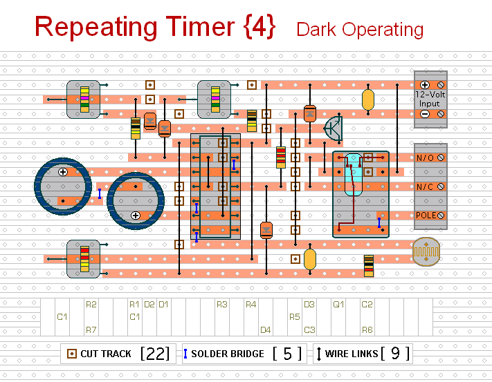 The Stripboard Layout For  Repeating Timer No.4