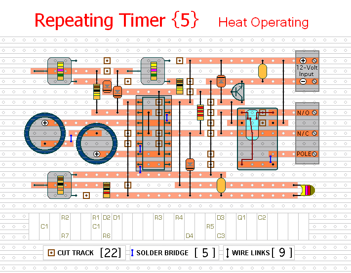 The Stripboard Layout For  Repeating Timer No.5.