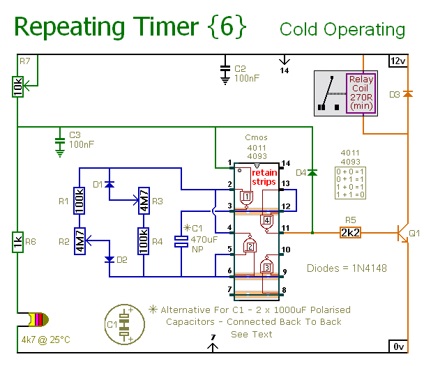 Schematic Diagram Of  An Interval-Timer That Only Operates When It's Cold