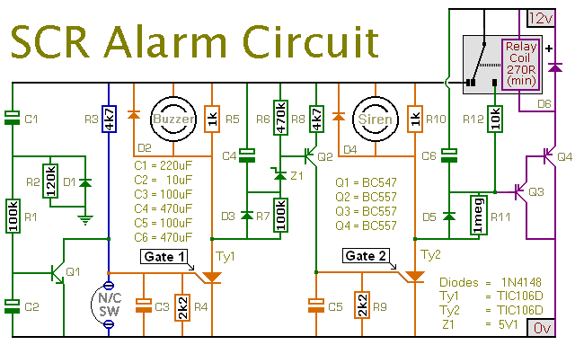 Circuit Diagram For An SCR Burglar Alarm