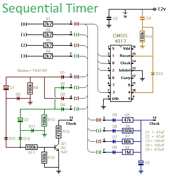 Schematic Diagram Of A  Sequential Timer Circuit