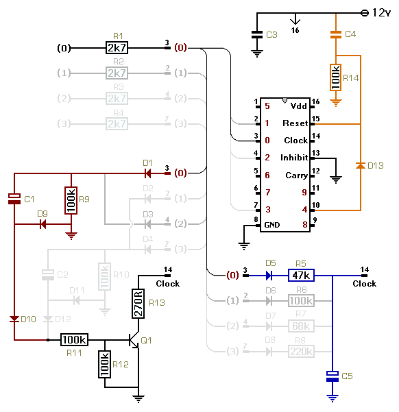 Circuit Diagram For  A Cmos 4017 Based Sequential Timer