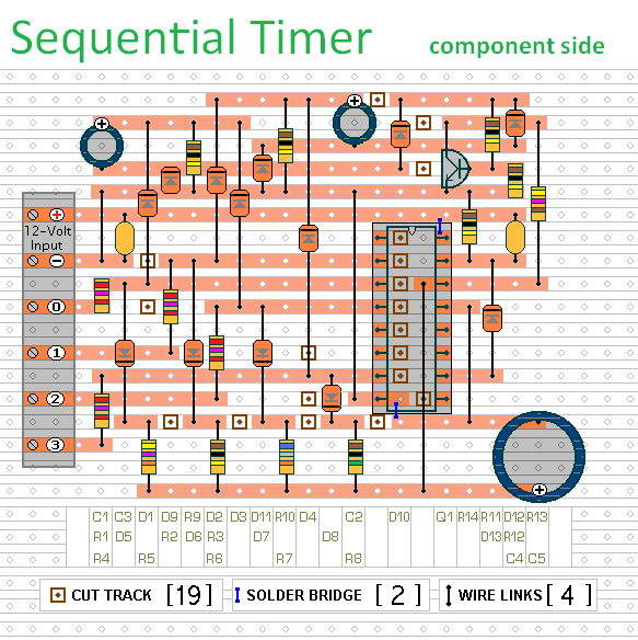 The Stripboard Layout For A  Cmos 4017 Sequential Timer