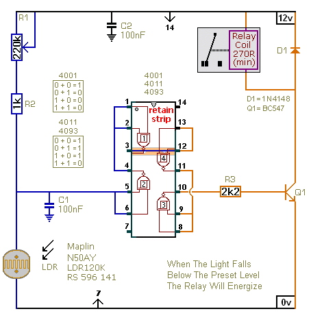 Schematic Diagram Of  A Light Controlled Relay