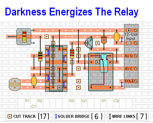 The Stripboard Layout For  The Light Controlled Switch