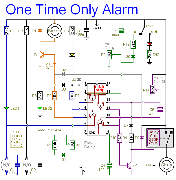 A Circuit Diagram For A Cmos  Based << One-Time-Only >> Burglar Alarm System
