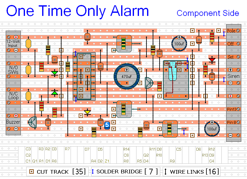 How To Build A << One-Time-Only >> Intruder Alarm Using Veroboard
