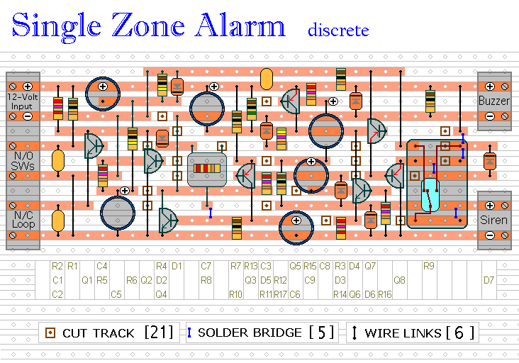 The Stripboard Layout For  The Transistor Based Single Zone Burglar Alarm