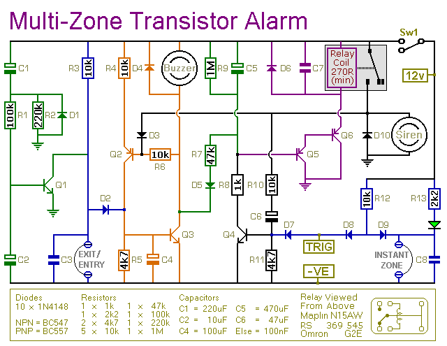 A Circuit Diagram For A Transistor  Based Burglar Alarm System