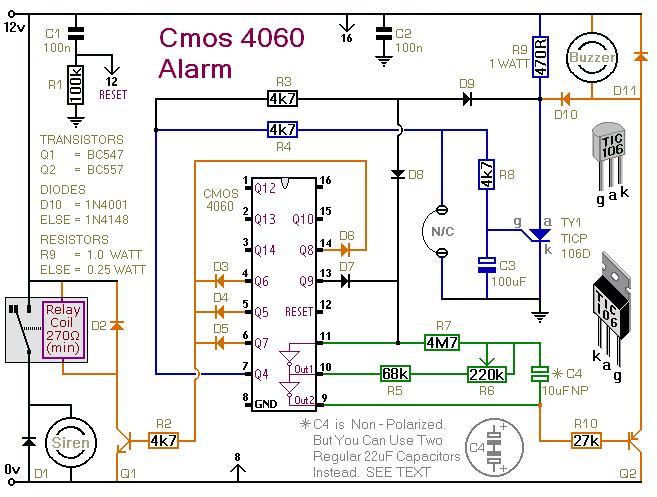 A Circuit Diagram For  A Cmos 4060 Based  One-Time-Only Burglar Alarm