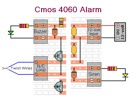 Details of How to Prepare  The Cmos 4060 Based - One Time Only Alarm - For Testing