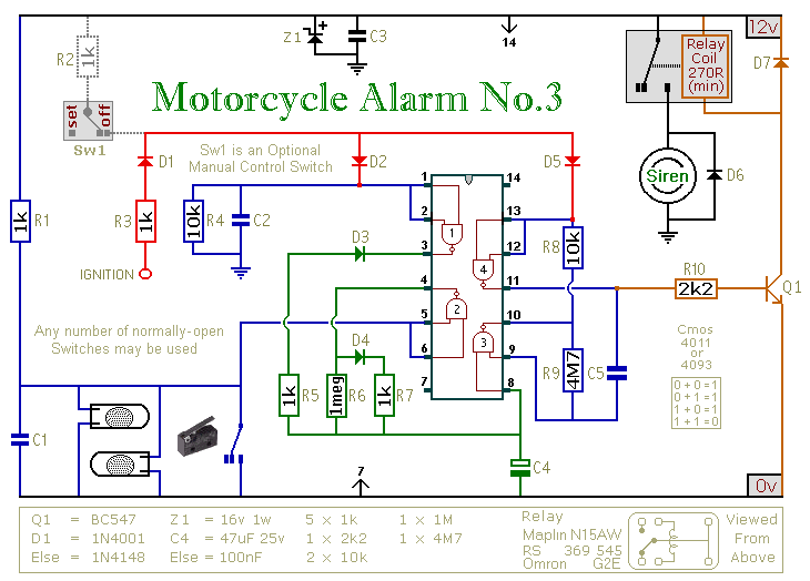 Circuit Diagram Of A Cmos 4011/4093 Based Motorcycle Alarm