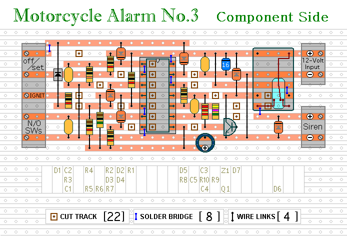 Veroboard Layout For  Motorcycle Alarm No.3
