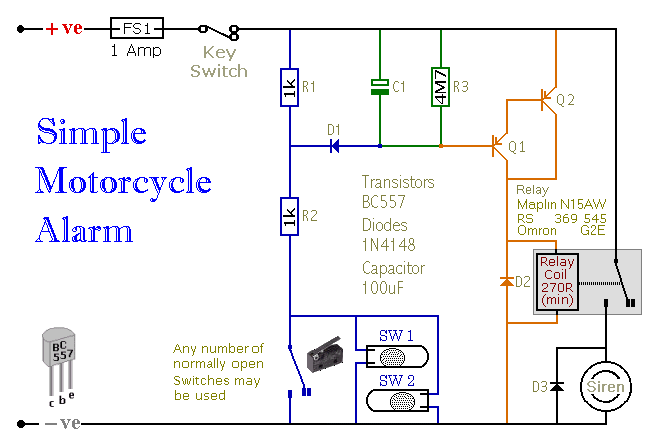 Circuit Diagram Of  A Transistor-Based Motorcycle Alarm