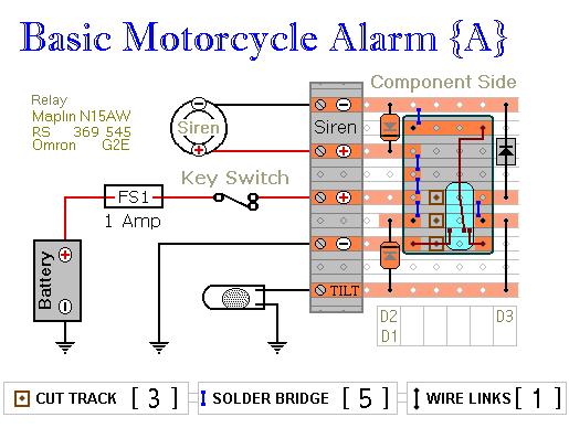 Relay-Alarm No.5 - Veroboard Layout