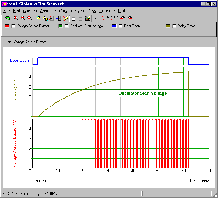 Simulation Graph For  Ron J's Fire-Door Alarm