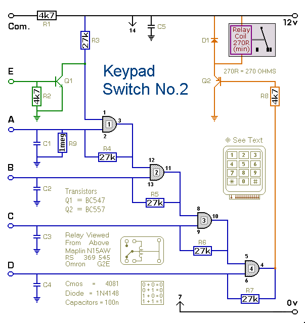 Circuit Diagram For A  Keypad-Operated Switch