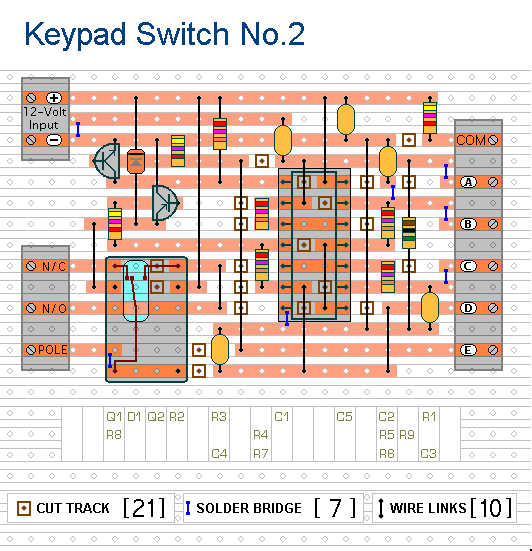 Veroboard Layout For  The Simple Keypad - Operated Switch