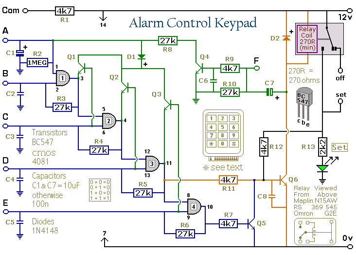 Circuit Diagram Of An  Alarm Control Keypad