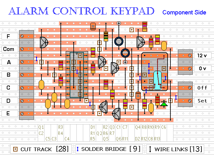 Veroboard Layout For The  Alarm Control Keypad