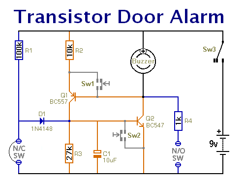 A Schematic Diagram Of A Transistor Door-Alarm That  Uses A Complementary Latch