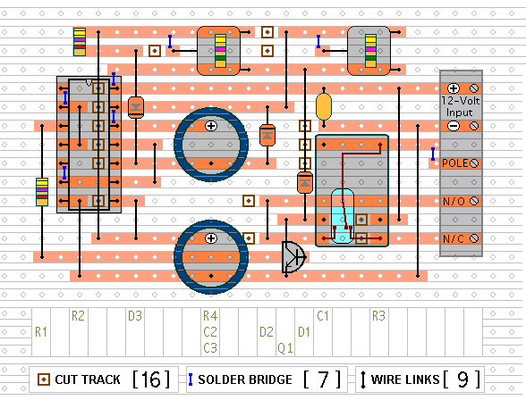The Stripboard Layout For  The Repeating Timer